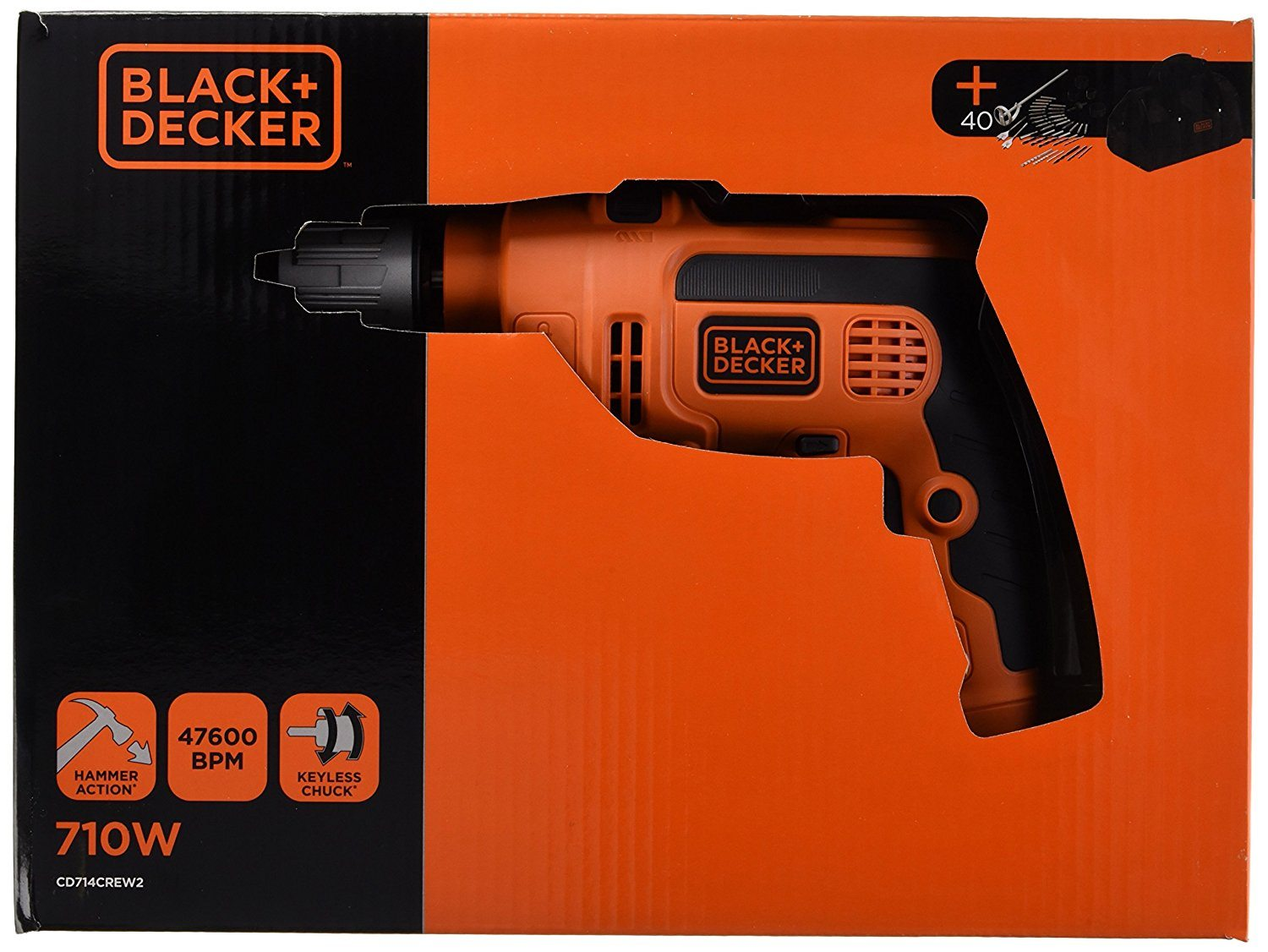 Perceuse percussion black decker cd714crew2 for Outils black et decker